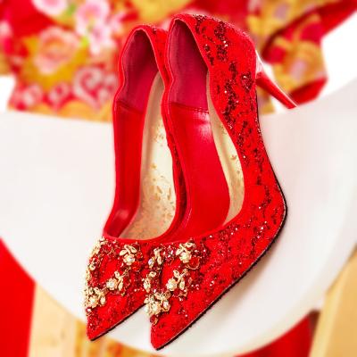 水鉆婚鞋女高跟2019新款紅色新娘鞋亮片高跟鞋細跟婚紗鞋尖頭單鞋MAR PAIRS