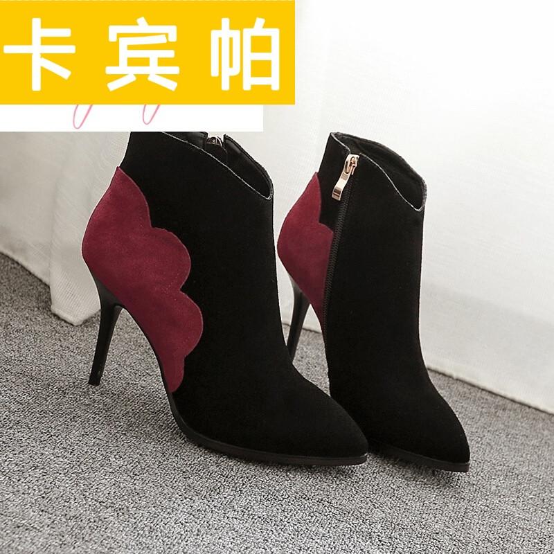 卡宾帕女靴春秋单靴冬天鞋子女些短靴马丁靴棉鞋女百搭拼色尖头高跟鞋