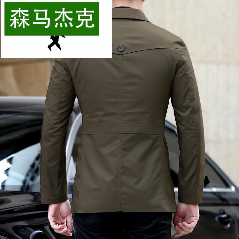 森马杰克中长款风衣外套男秋季纯色拼接撞色翻领夹克修身韩版风衣男图片