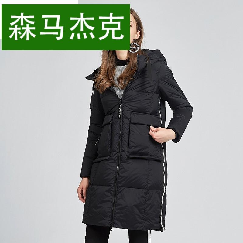 森马杰克2017秋冬新款女中长款大口袋连帽羽绒服图片