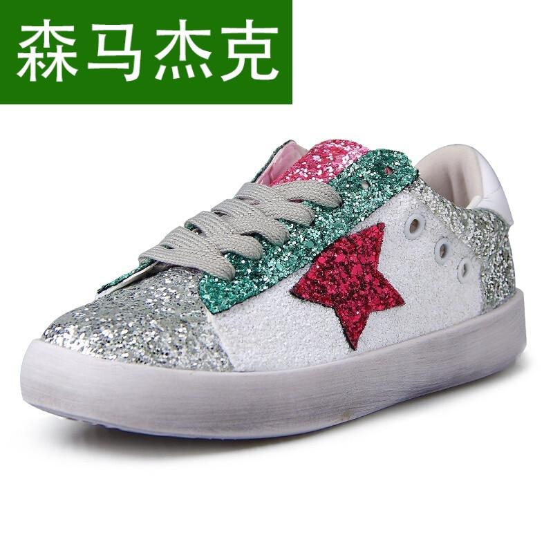 森马杰克2017新款冬季小脏鞋品色亮片星星运动鞋学生平底做旧女鞋小白图片