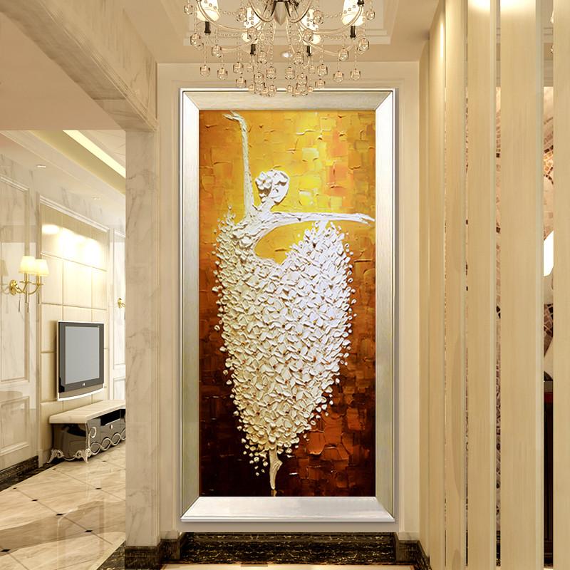 舒厅 玄关装饰画竖版现代简约手绘油画立体抽象走廊过道挂画壁画欧式