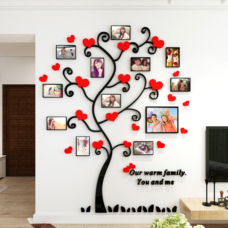 舒厅 爱心亚克力3d水晶立体墙贴 创意家居装饰画 客厅沙发卧室照片树图片