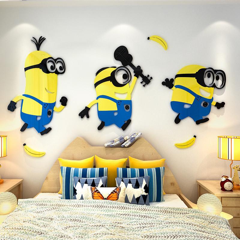舒厅创意家居 小黄人3d亚克力立体墙贴儿童房卧室客厅