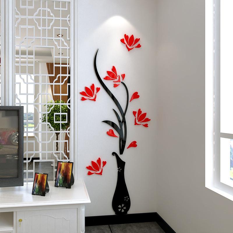 舒厅创意家居 花瓶梅花3d亚克力立体墙贴画客厅玄关电视背景墙贴纸
