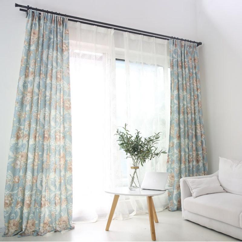 中式田园窗帘半遮光客厅卧室阳台窗户短帘卧室厚布艺挡风保温窗帘