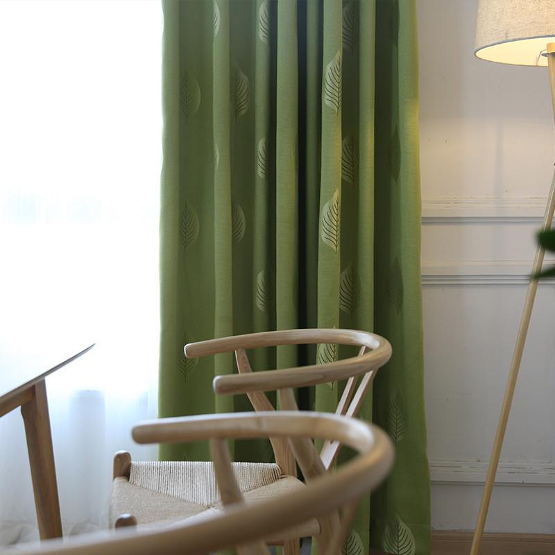 田园风格清新窗帘布美式绿色卧室房间寝室遮光窗帘小窗户挡风短帘