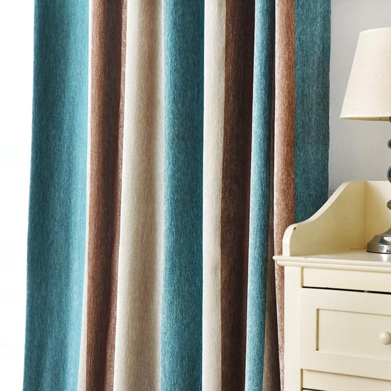 北歐風格拼色豎條紋窗簾地中海客廳飄窗陽臺隔音遮光窗簾布