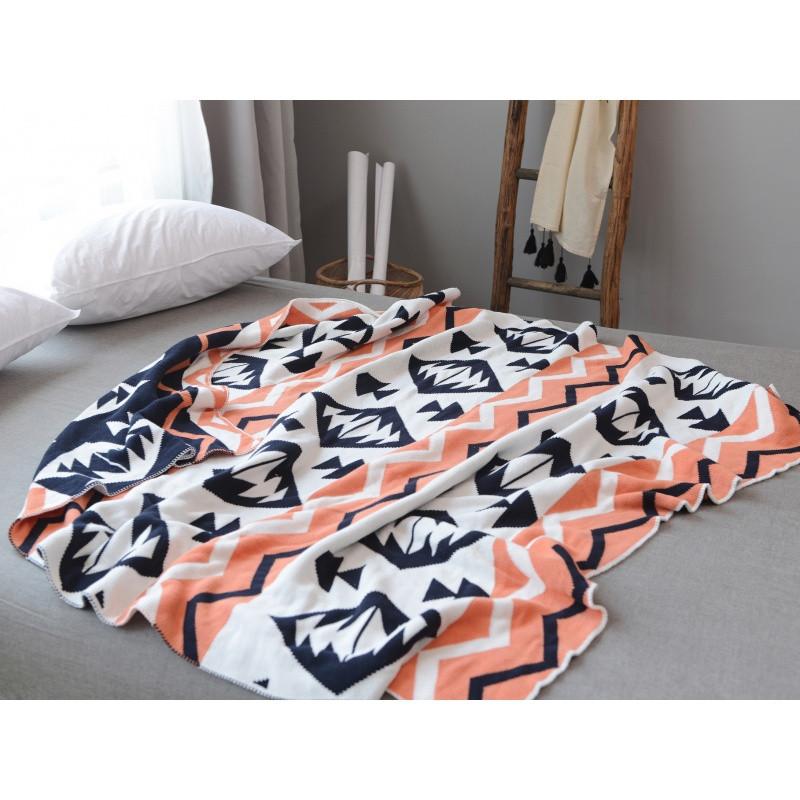北欧全棉针织编织毛线毯沙发装饰盖毯手工保暖披肩