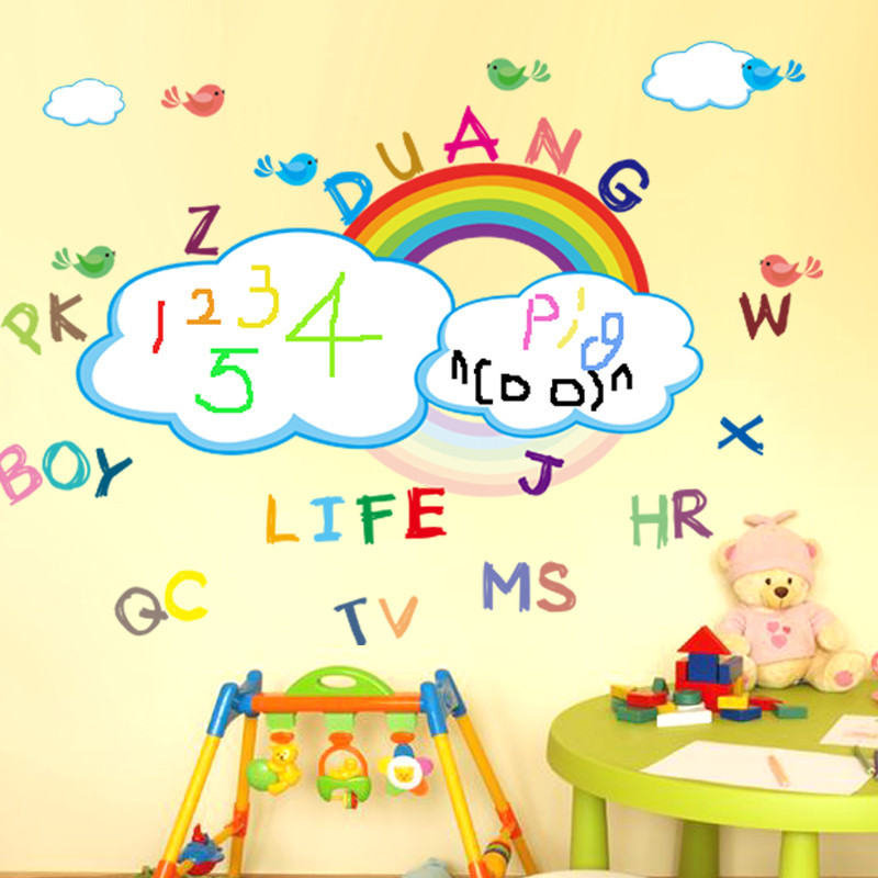 卡通儿童房装饰布置装修可移除墙贴纸贴画彩虹涂鸦英文字母白板贴