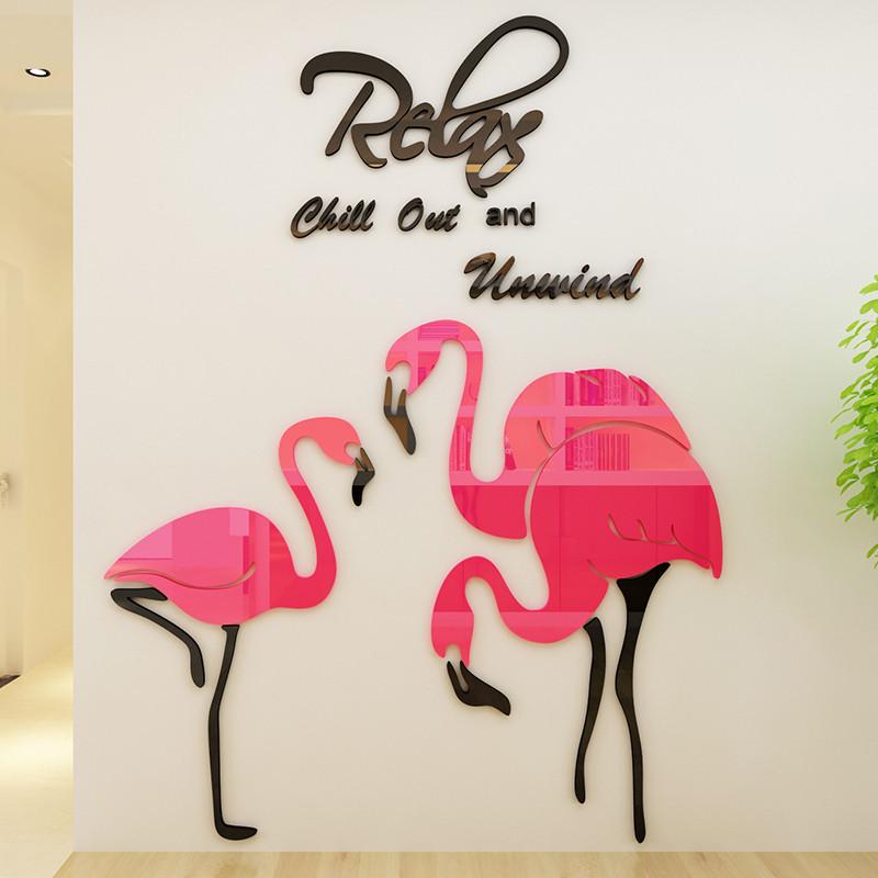 火烈鸟亚克力3d立体墙贴画客厅沙发背景墙壁贴纸卧室房间墙面装饰