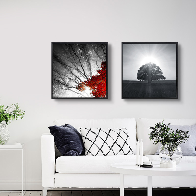 现代北欧装饰画简约黑白风景客厅艺术三联画餐厅挂画沙发墙画壁画