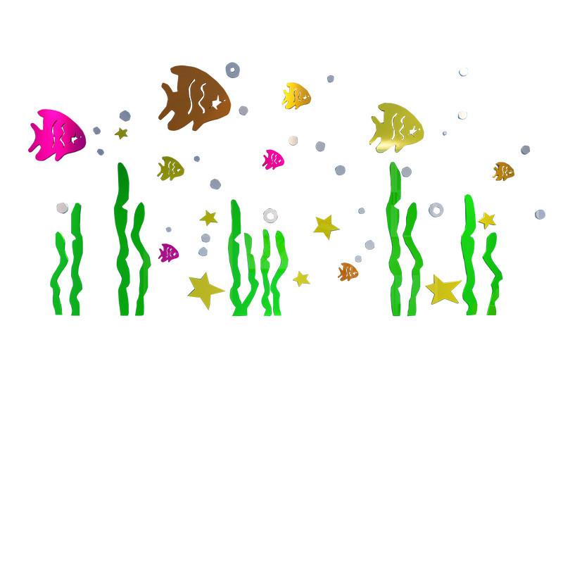 海底世界亚克力墙贴儿童房装饰卫生间浴室3d立体贴纸防水厕所贴画