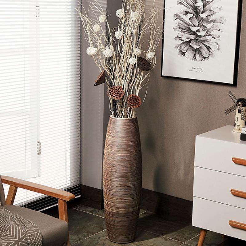 欧式创意现代客厅家居软装饰品高陶罐缸陶瓷落地大花瓶摆件艺术品