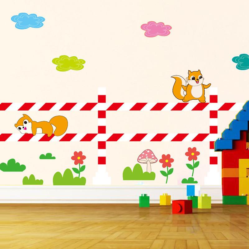 卡通幼儿园儿童房墙贴纸贴画动物腰线教室布置踢脚线自粘壁纸墙纸
