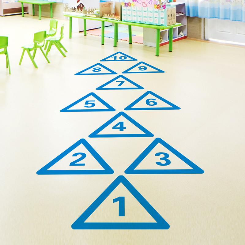 幼儿园跳格子跳房子游戏地板地贴画早教数字儿童墙贴纸装饰品卡通