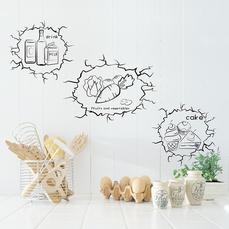 创意个性墙贴纸厨房餐厅橱柜冰箱贴黑白墙洞贴画食物饮料标志小贴