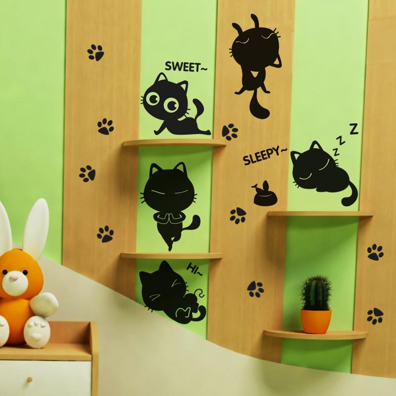 可爱儿童房卧室猫咪楼梯自粘卡通墙纸幼儿园墙面装饰品壁纸墙贴纸
