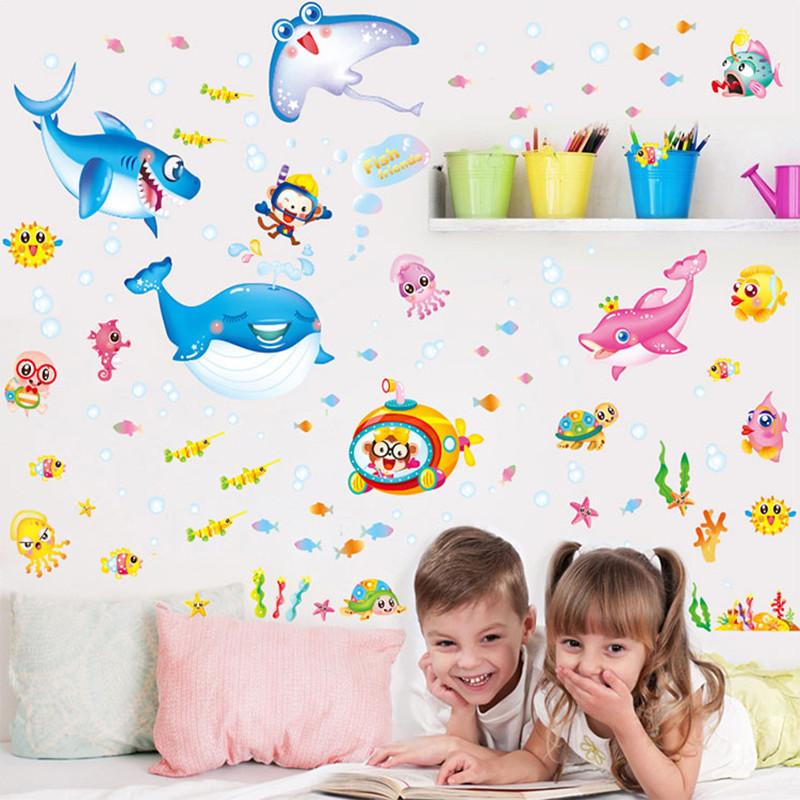 卡通儿童房鱼海洋幼儿园装饰品海底世界动物背景墙男孩墙贴纸贴画