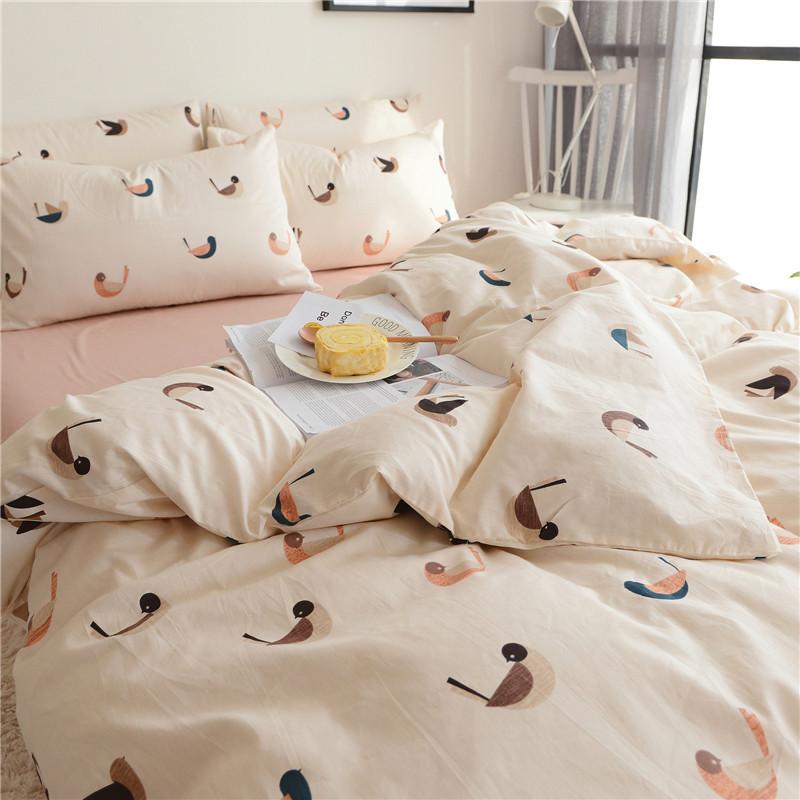 小清新纯棉四件套 简约时尚床上用品 床笠式 床单款被套 可爱
