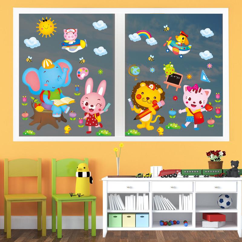 墙贴纸幼儿园教室儿童房间墙壁装饰品卡通可爱小象讲故事动物贴画