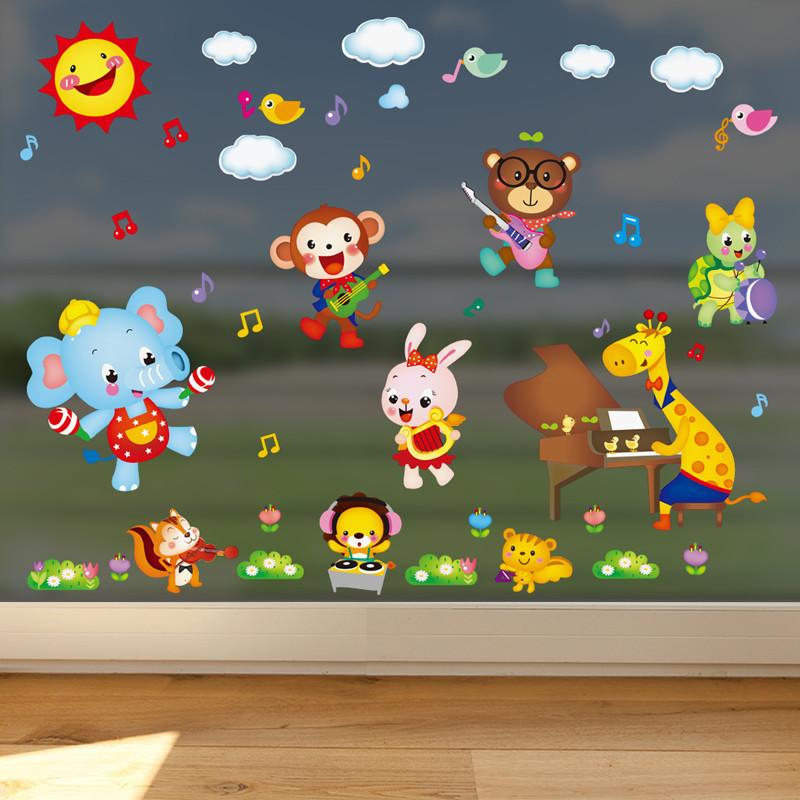 动物音乐节幼儿园墙面装饰儿童房卧室墙贴画墙纸自粘卡通贴纸墙画
