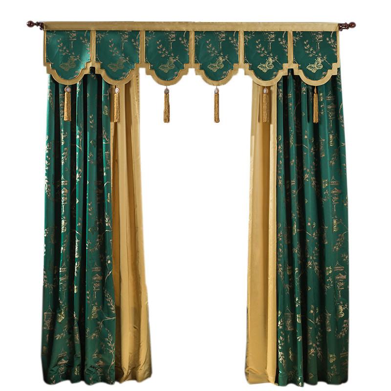 新中式窗帘仿真丝高精密拼接提花面料客厅卧室别墅落地窗飘窗图片