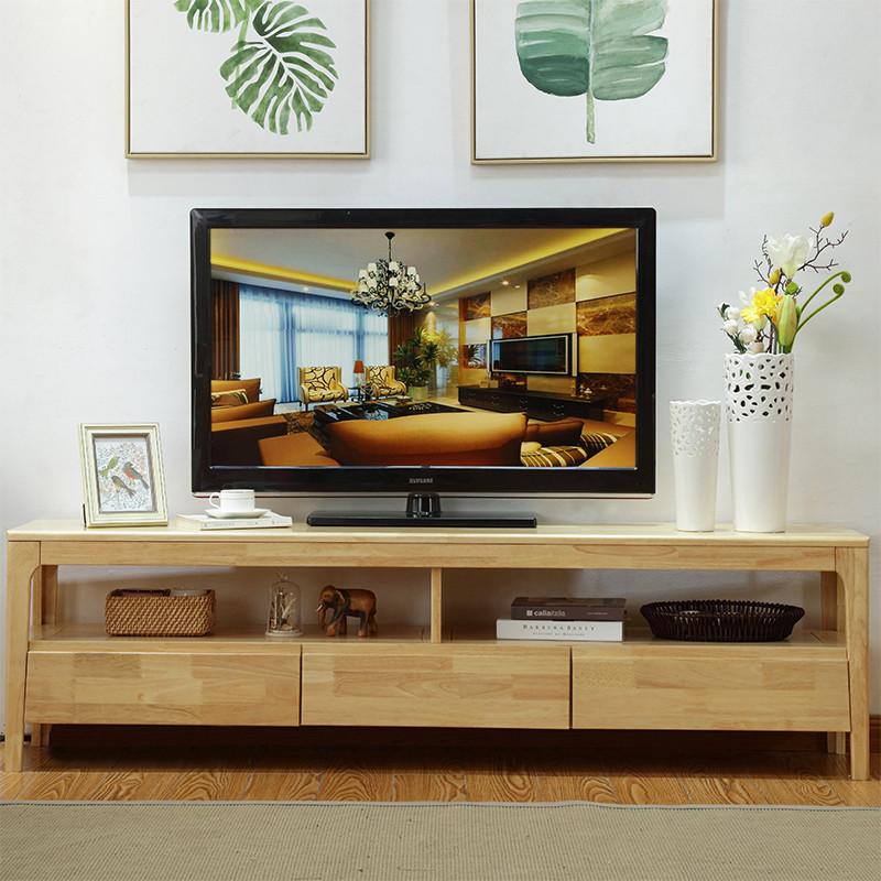 凯莫 现代简约北欧日式实木电视柜橡胶木客厅家具木质