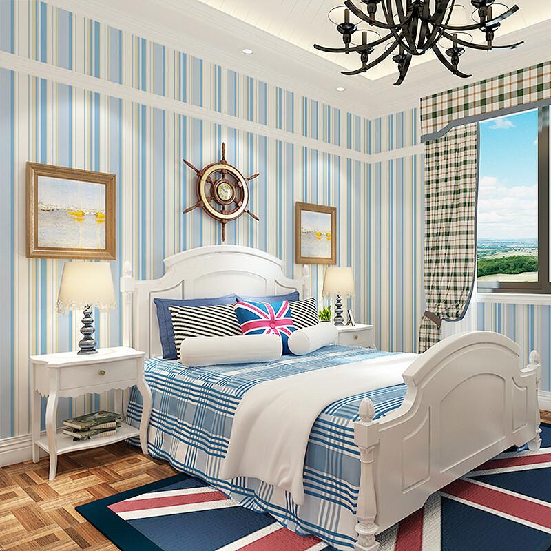 男孩环保无纺布房间装修女孩公主小清新条纹墙纸卧室米白色3302仅墙纸