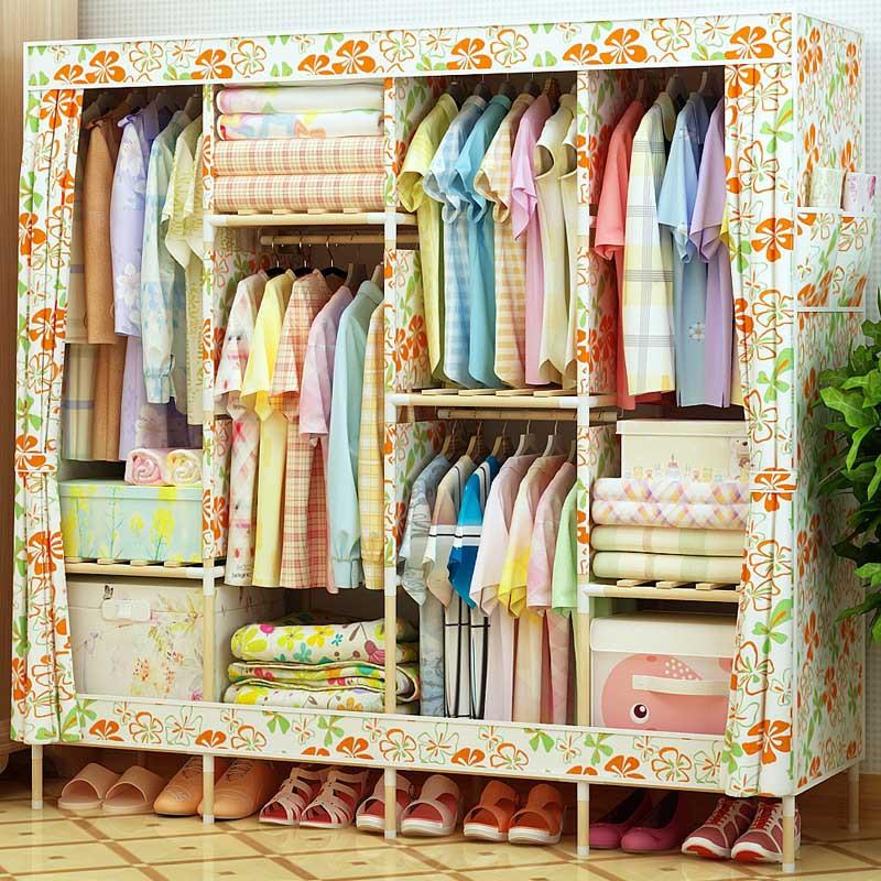 家时光 简易衣柜加固实木牛津布收纳衣橱大号布衣柜非