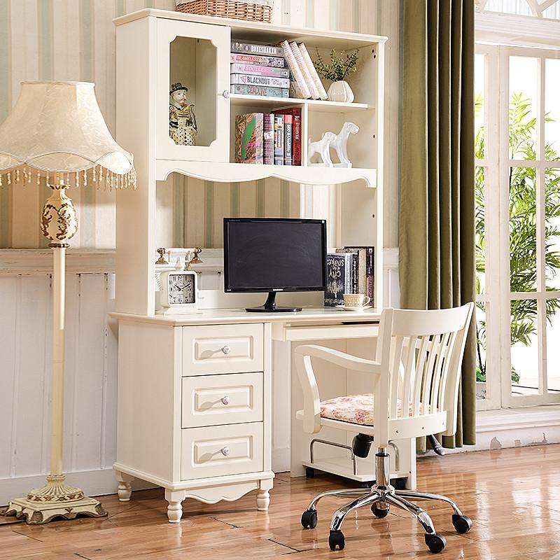 诗伟格 时尚书桌书架组合欧式电脑桌韩式田园书桌书柜一体儿童写字桌