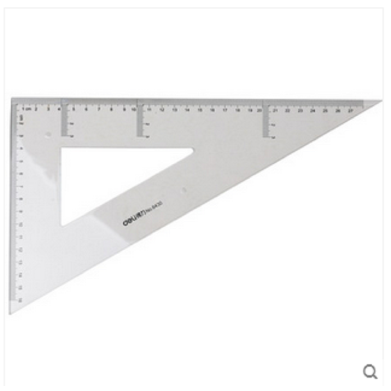 得力6430透明三角板套装建筑绘图三角板透明塑料三角板尺子三角尺