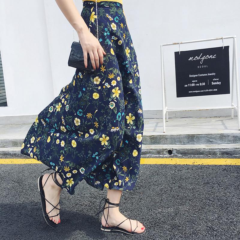 2017新款一片式印花半身裙中长款不规则系带裙子雪纺沙滩裙碎花开叉