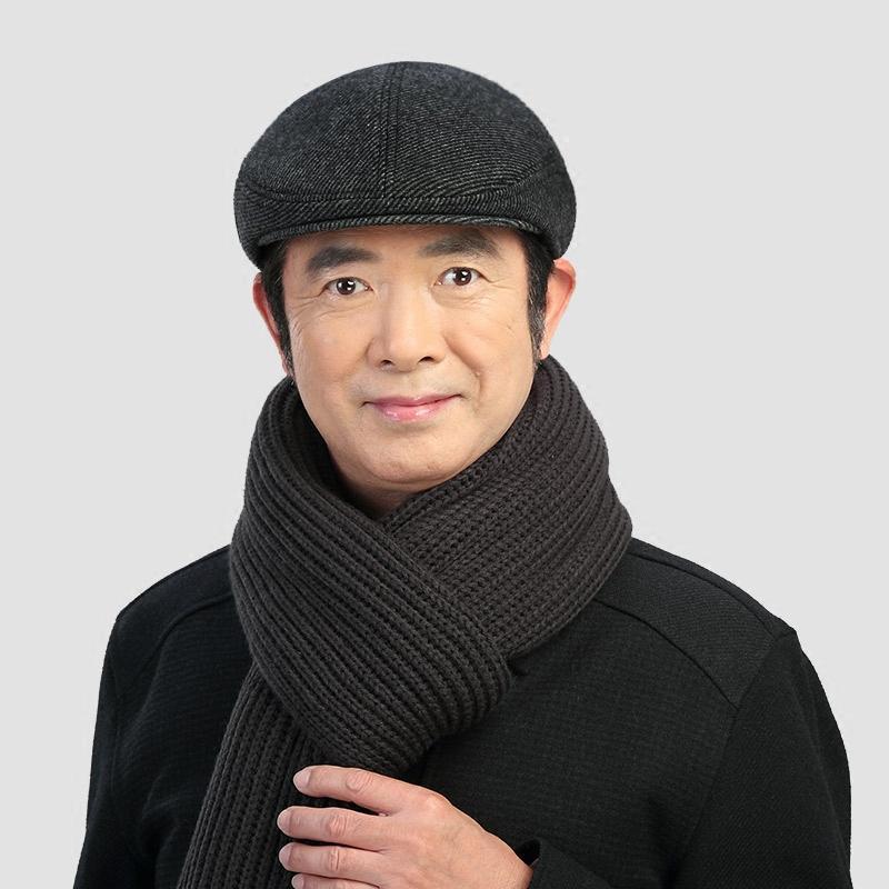 2017新款中老年帽子男士秋冬天鸭舌帽前进帽老年人帽老人帽保暖护耳毛
