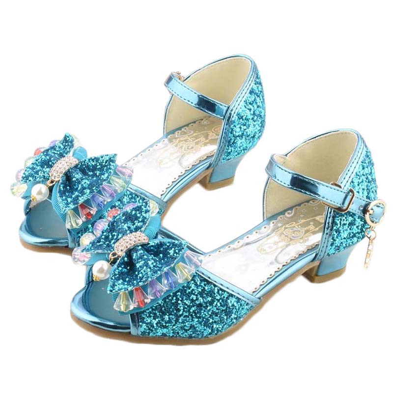 2017新款女童鞋2017冰雪奇缘公主高跟鞋儿童6表演8跳舞凉鞋夏季水晶