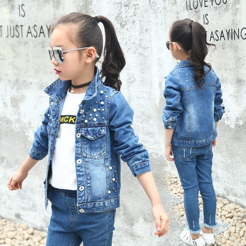 女童牛仔外套2017秋季新款儿童珍珠夹克短款上衣中大童小孩牛仔服图片