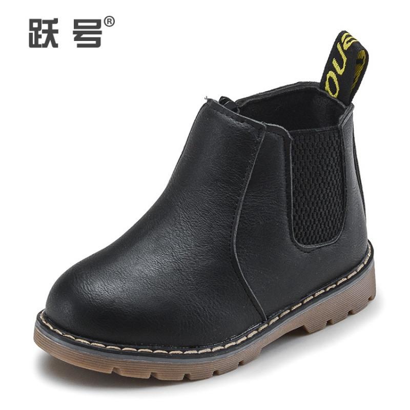 秋冬季儿童马丁靴女童靴子 宝宝雪地靴皮靴 男童短靴棉鞋棉靴易防水
