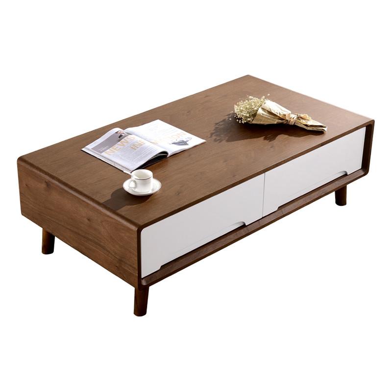 简约小户型客厅储物胡桃木茶桌实木现代北欧风格茶几电视柜组合