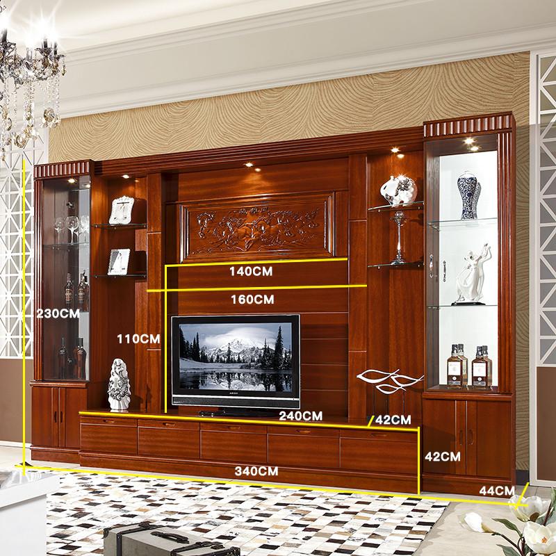3.4米 中式整体电视柜实木客厅背景墙挂柜大户型影视墙柜酒柜组合图片