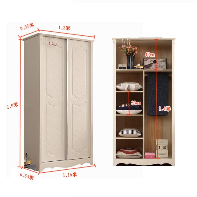 欧式衣柜1.1米推拉门滑移门儿童小衣橱卧室趟门双开门图片