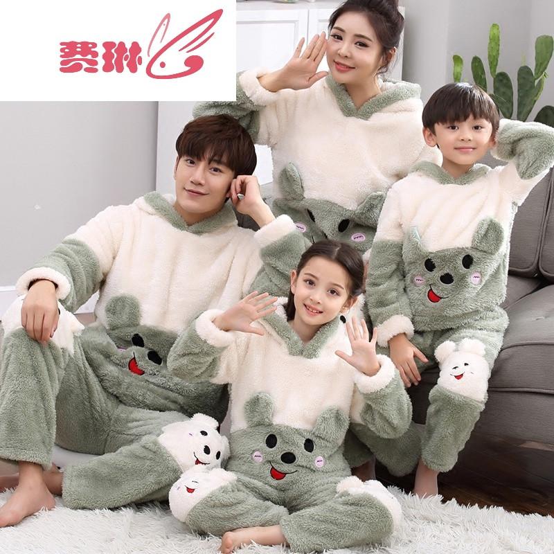 冬季法兰绒亲子睡衣加厚可爱母女一家三口男童女童父子家居服套装