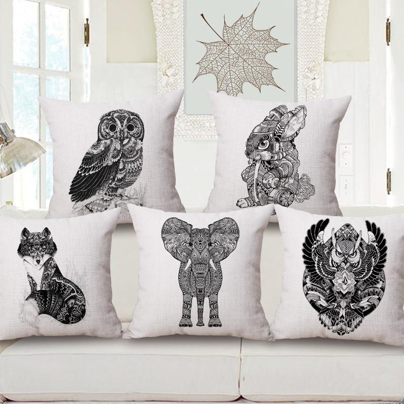 北欧动物图腾抱枕 棉麻靠垫 欧美黑白简约手绘棉麻靠枕办公靠垫