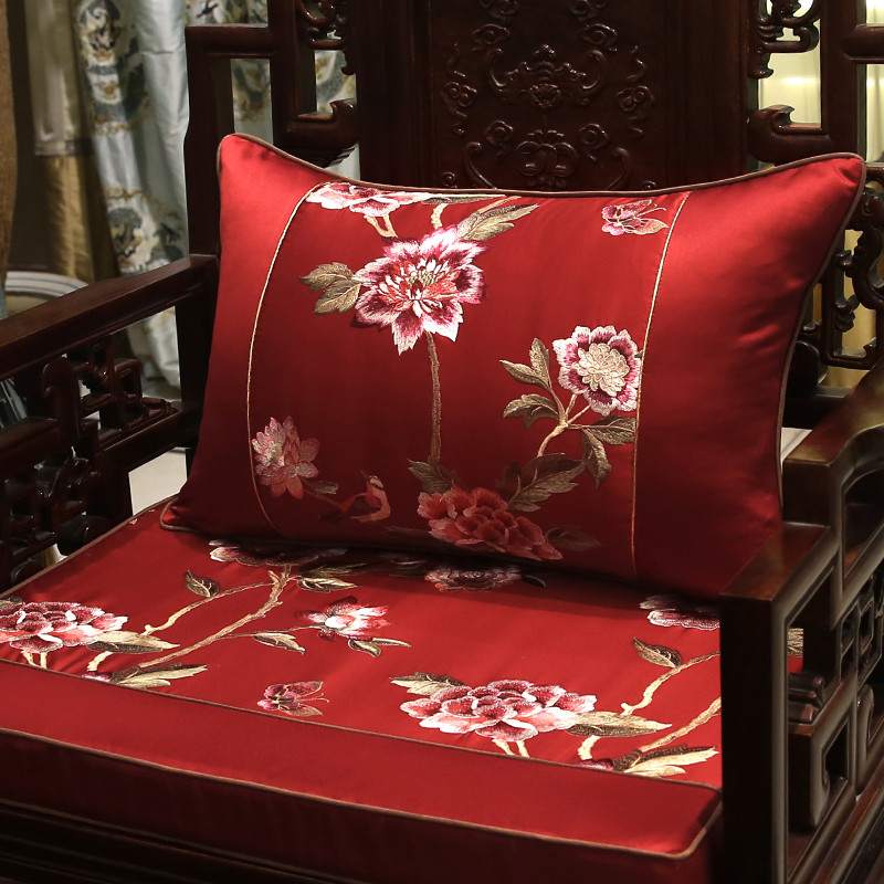 新中式古典刺绣花抱枕红木沙发靠垫圈椅腰靠枕床头大靠背含芯图片