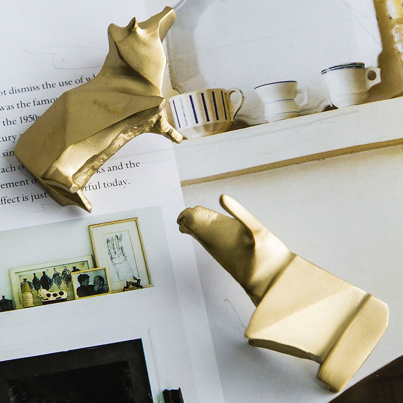 美式现代复古黄铜几何动物牛羊摆件书房样板房软装饰品