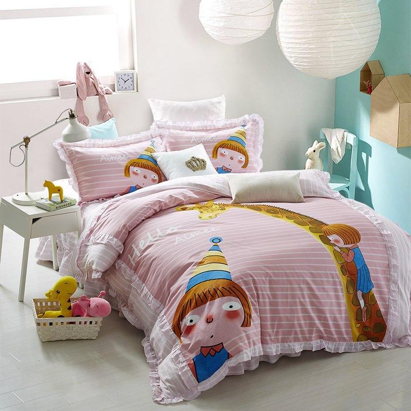 韩版花边卡通全棉四件套 动物兔子可爱公主儿童纯棉少女床上用品