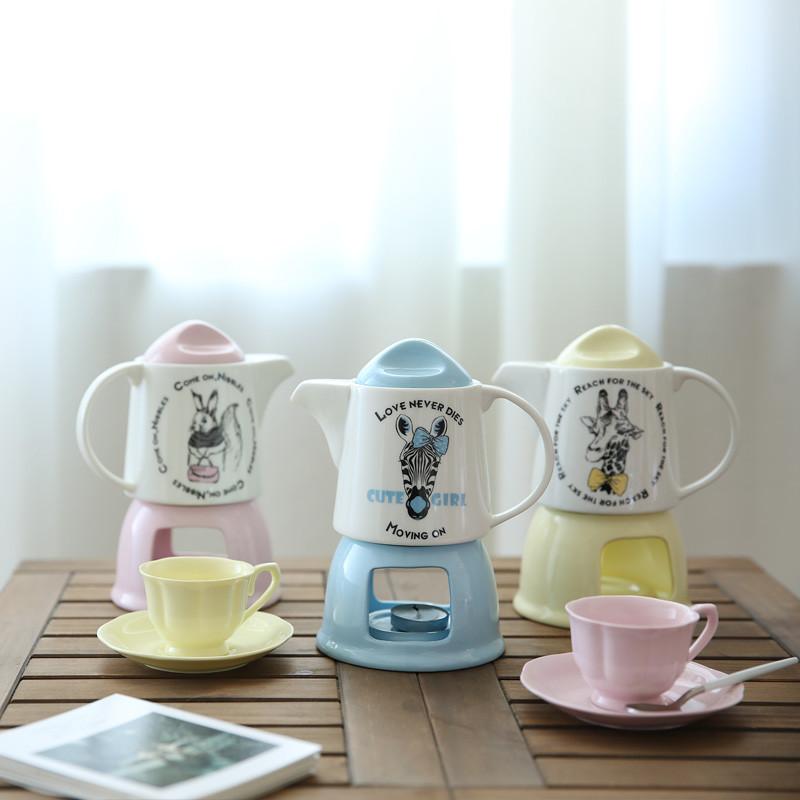 奇妙森林卡通动物治愈系彩泥骨瓷花茶壶水果茶杯子茶具套装cj-19
