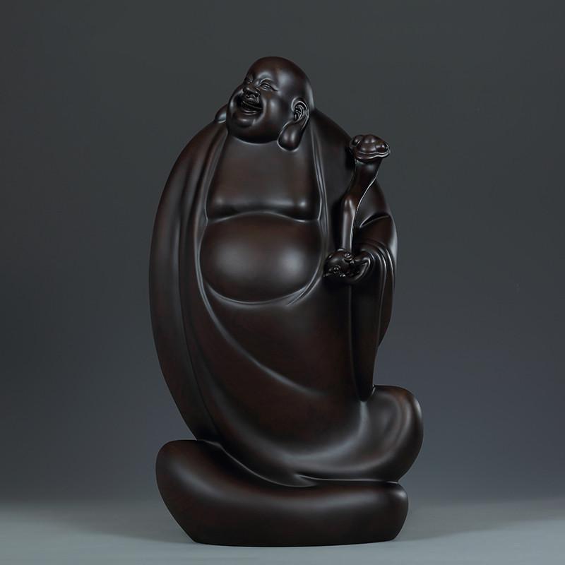 黑檀木雕艺术品《如意弥勒佛》雕刻工艺品摆件办公室装饰品