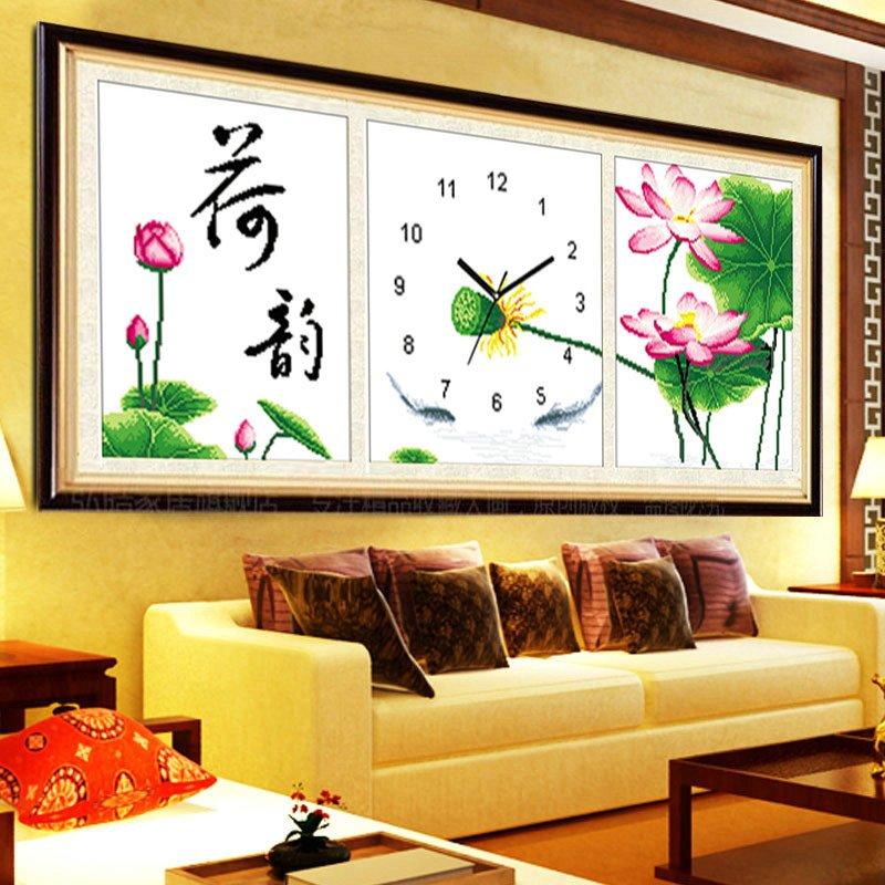 印花十字繡鐘表掛鐘荷韻三聯畫新款大幅客廳臥室簡約現代風景時鐘