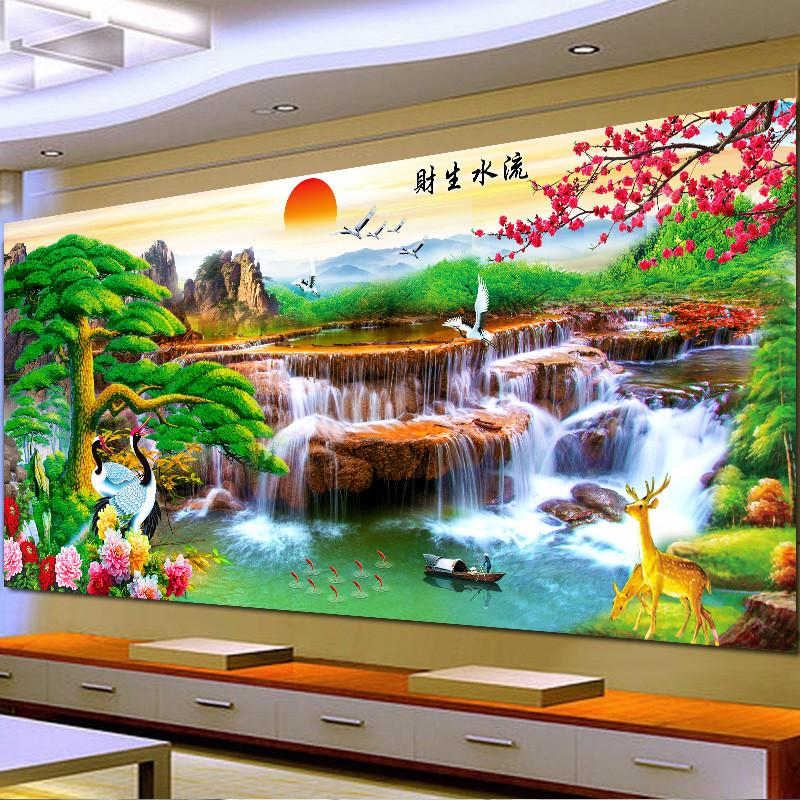 迎客松十字繡線繡新款滿繡流水生財客廳山水畫大幅中國風景九魚圖