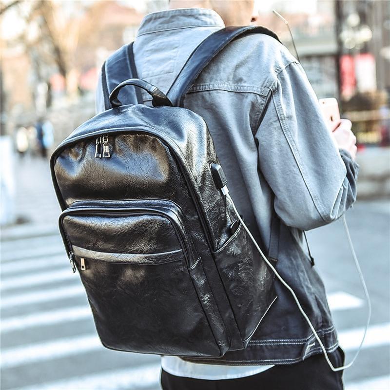 新款双肩包男士韩版休闲学生书包旅行背包男时尚潮流男商务电脑包